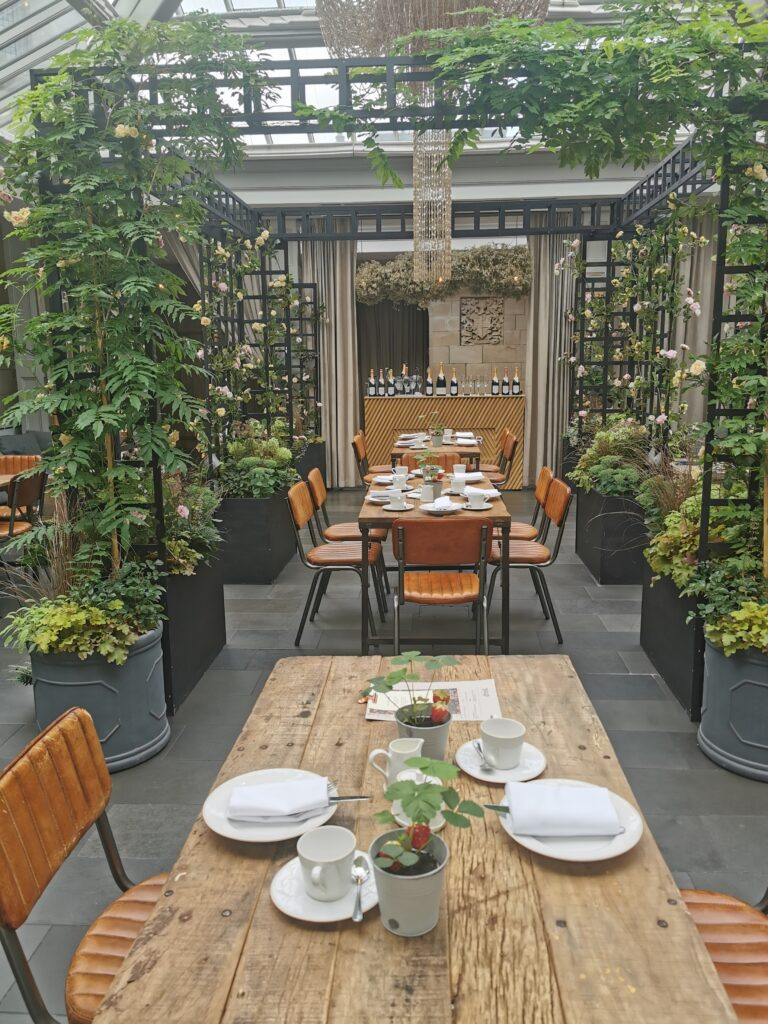 The Nyetimber summer house laid for afternoon tea